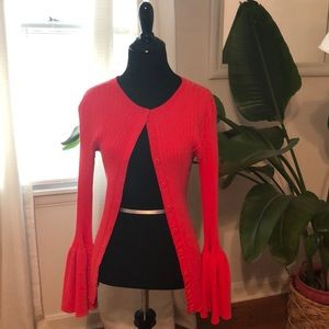 CAbi trumpet sleeve gorgeous red sweater